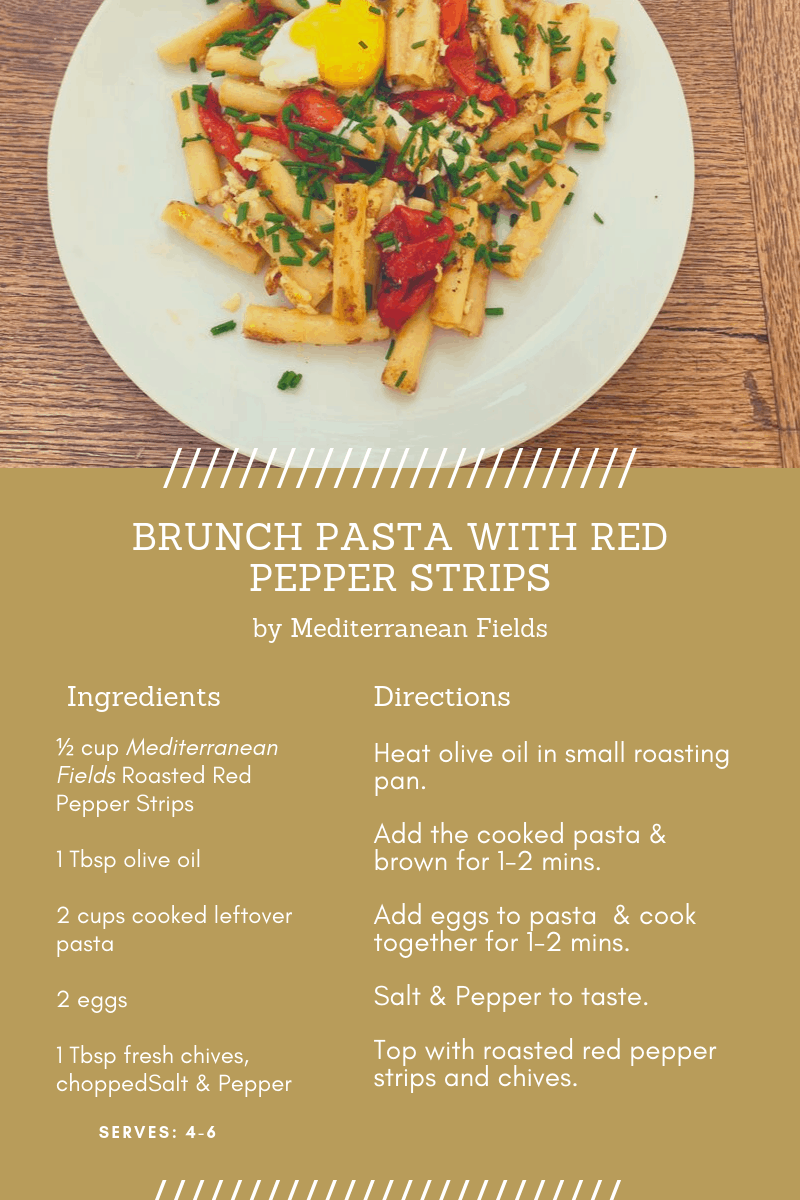Recipe Card for Brunch Pasta with Red Pepper Strips